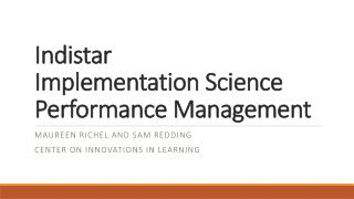 Indistar Implementation Science   Performance Management