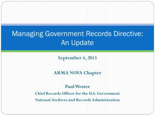 Managing Government Records Directive: An Update