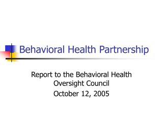 behavioral health partnership