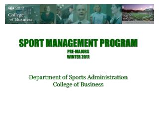 Sport Management Program pre-majors Winter 2011