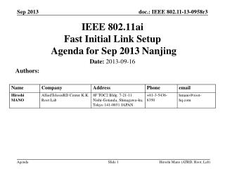 IEEE 802.11ai Fast Initial Link Setup  Agenda for  Sep 2013 Nanjing