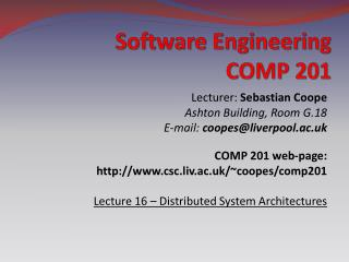 Software Engineering COMP 201