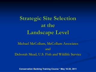 Strategic Site Selection at the Landscape Level