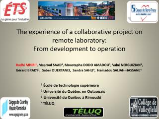 The experience of a collaborative project on remote laboratory:  From development to operation