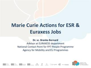Marie  Curie  Actions  for ESR &  Euraxess Jobs