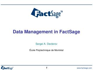 Data Management  in  FactSage