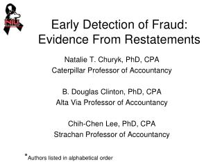 Early Detection of Fraud: Evidence From Restatements