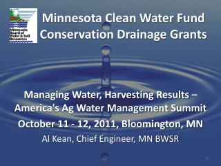 Minnesota Clean Water Fund Conservation Drainage Grants
