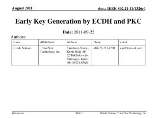 Early Key Generation by ECDH and PKC