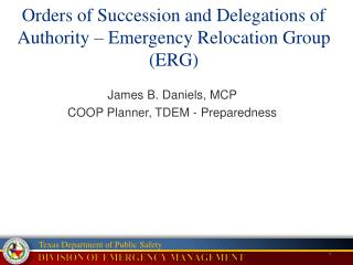 Orders of Succession and Delegations of Authority – Emergency Relocation Group (ERG)