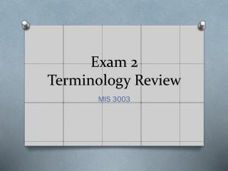 Exam 2 Terminology Review