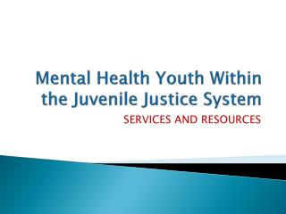 Mental Health Youth Within the Juvenile Justice System