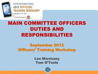 main committee officers duties and responsibilities