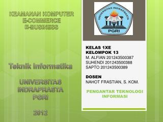 KEAMANAN KOMPUTER E-COMMERCE E-BUSINESS