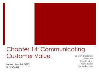 Chapter 14: Communicating Customer Value