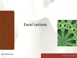 Excel Lecture
