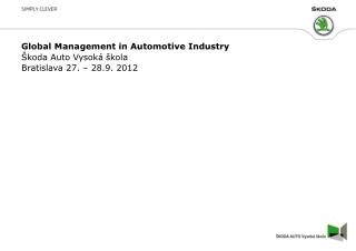 Global  Management in  Automotive Industry
