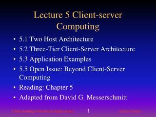 Lecture 5 Client-server Computing