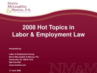 2008 hot topics in labor  employment law