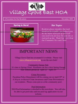 A Newsletter for Our Residents                                      November  2009