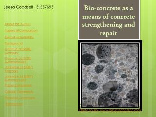 Bio-concrete as a means of concrete strengthening and repair
