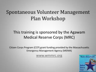 Spontaneous  Volunteer Management  Plan Workshop