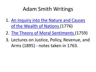 Adam Smith Writings
