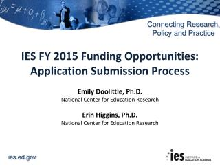 IES FY 2015 Funding Opportunities: Application Submission Process