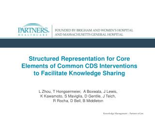 Structured Representation for Core Elements of Common CDS Interventions to Facilitate Knowledge Sharing