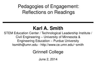 Pedagogies of Engagement:  Reflections on Readings