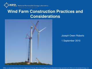 Wind Farm Construction Practices and Considerations