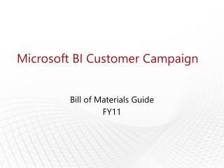 Microsoft BI Customer Campaign