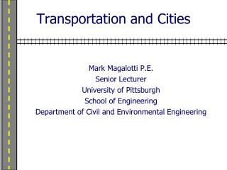 Transportation and Cities