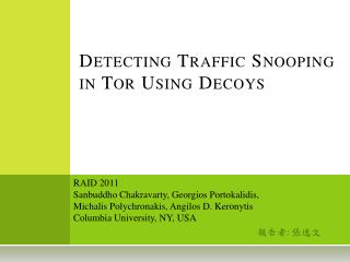 Detecting Traffic Snooping in Tor Using Decoys