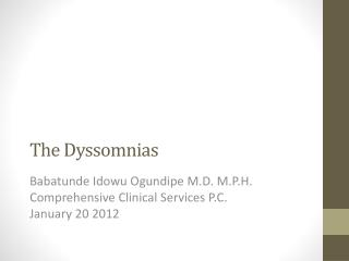 The  Dyssomnias