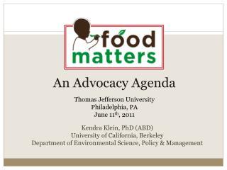 An Advocacy Agenda