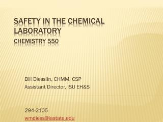 Safety in the Chemical Laboratory Chemistry 550