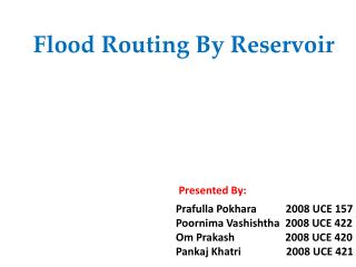Flood Routing By Reservoir