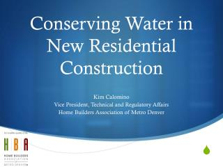 Conserving Water in New Residential Construction