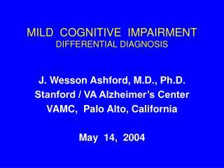 mild cognitive impairment differential diagnosis