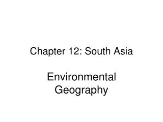 Chapter 12: South Asia