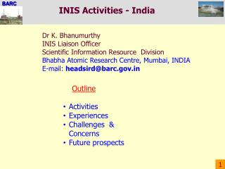 INIS Activities - India