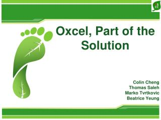 Oxcel, Part of the Solution