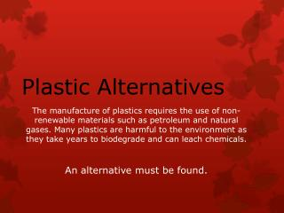 Plastic Alternatives