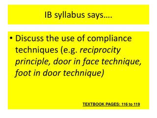 IB syllabus says….
