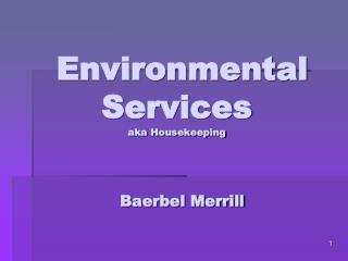 Environmental Services aka Housekeeping  Baerbel Merrill