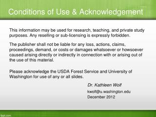 Conditions of Use & Acknowledgement