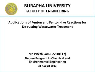 Applications of Fenton and Fenton-like Reactions for De-rusting Wastewater Treatment