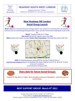 New  Headway SW London  Social  Group  Launch