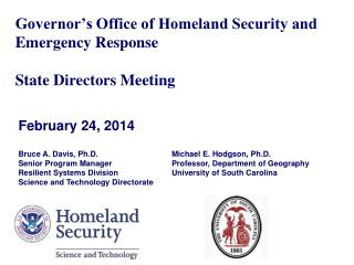Governor's Office of Homeland Security and Emergency Response State Directors Meeting
